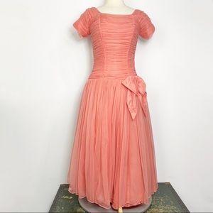 Vtg 60s coral pink drop waist formal dress